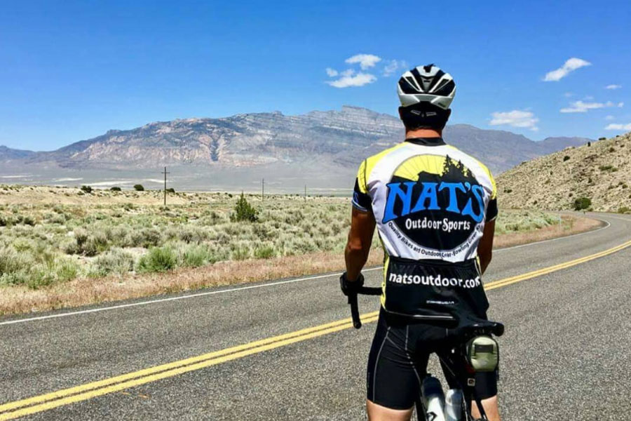 Bicyclist in Utah with Nat's Outdoor Sports Bicycle Uniform